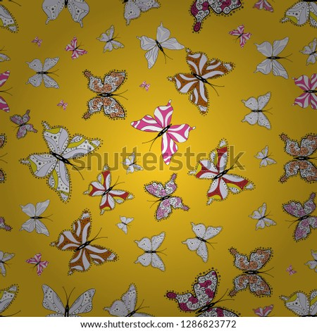 Vector illustration. Fantasy illustration. Illustration in yellow, gray and white colors. Beautiful fashion pattern with butterflies. Fashion cute fabric design.