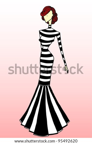 Black White Dress on Illustration  Fashion Sketch  Black And White Dress  Card Concept