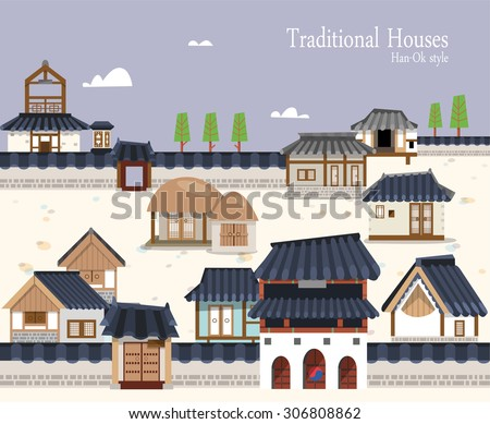 Vector illustration featuring the old town surrounded by ramparts with Korean traditional buildings. A variety of houses ,stone pagoda, thatched house and tiled roof. Suitable for traditional holiday