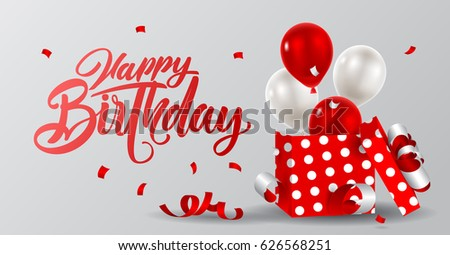 Vector illustration festive background birthday with gifts and balloons