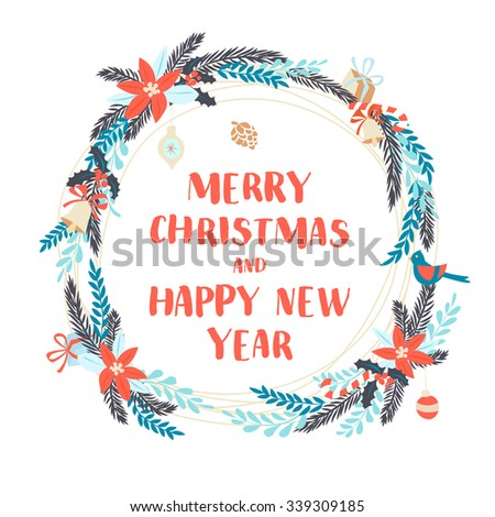 Vector illustration Festive Christmas and New Year floral winter wreath with flowers, berries and balls. Flat style