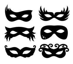 Vector illustration festive masks silhouette in black on a white background