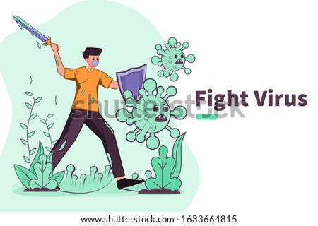 Vector illustration fight against covid-19 virus or  coronavirus. cure corona virus. people fight virus concept. corona viruses vaccine concept. don't be afraid corona virus concept. stop coronavirus.