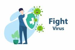Vector illustration fight covid-19 corona virus. cure corona virus. people fight virus concept. corona viruses vaccine concept. end of 2019-ncov. don't be afraid of the corona virus concept.