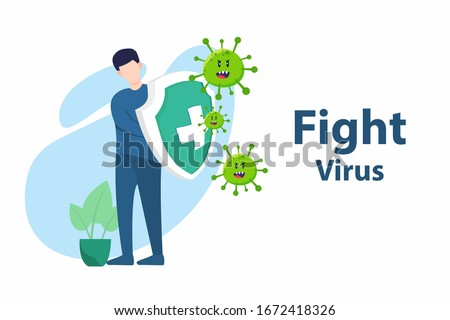 Vector illustration fight covid-19 corona virus. cure corona virus. people fight virus concept. corona viruses vaccine concept. end of 2019-ncov. don't be afraid of the corona virus concept.