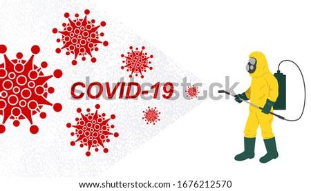 Vector illustration fight covid-19 corona virus. cure corona virus. People fight virus concept