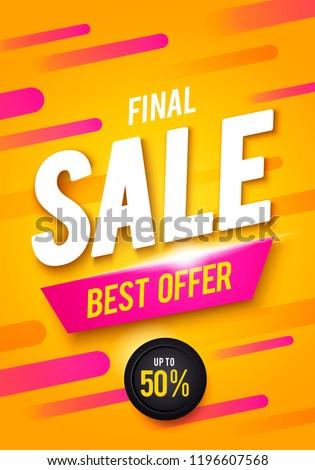 Vector illustration Final sale poster or flyer design. 3D word Sale on colorful background.