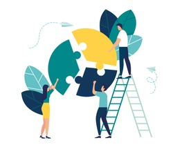 Vector illustration, financial management concept, statistics and business report, small people like jigsaw puzzles puzzles collect infographics