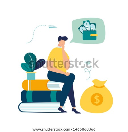 Vector illustration, financial problems, economic crisis, business bankruptcy, presses office worker with a headache, unpaid loan debt