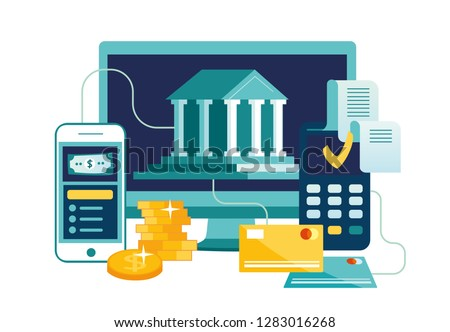 Vector illustration, financial transactions, non-cash payment transactions. Pos-terminal and payment systems, currency, coins, NFC payment system - Vector, money transfer