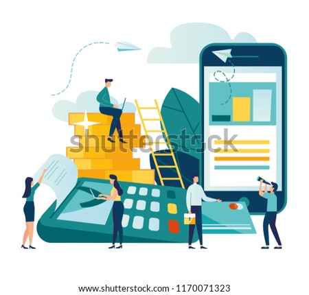 Vector illustration, financial transactions, non-cash transactions on payment. Pos-terminal and payment systems, monetary currencies, coins, Payment concept NFC