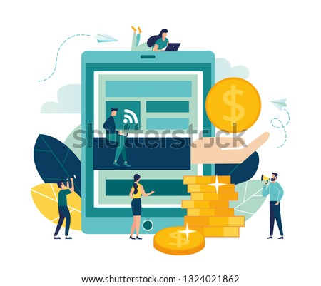 Vector illustration, financial transactions, non-cash transactions on payment. Pos-terminal and payment systems, monetary currencies, coins, Payment concept NFC - Vector
