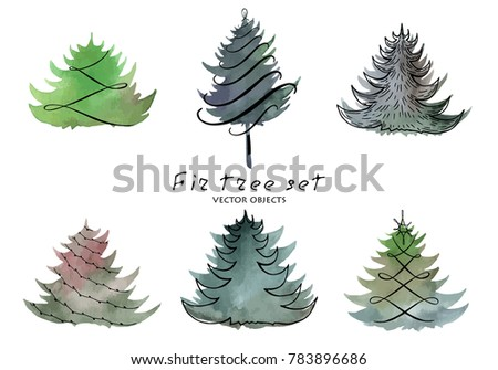 Vector illustration. Fir tree element on watercolor background.