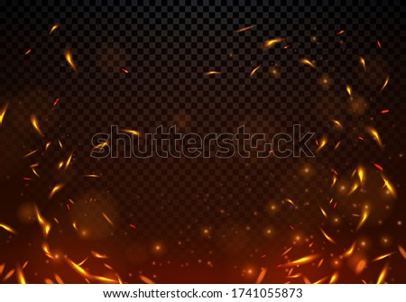 Vector Illustration Fire Sparks On Transparent Background.  Сток-фото ©
