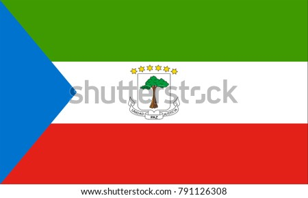 Vector Illustration Flag of Equatorial Guinea for continue, Flag Of Equatorial Guinea Isolated On White Background.