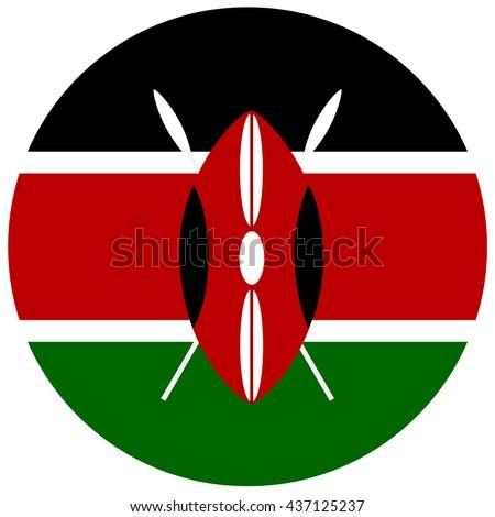 Vector illustration flag of Kenya icon. Round national flag of Kenya. Kenya flag button