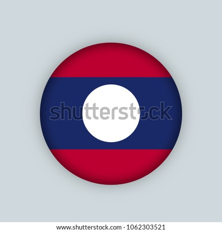 Vector illustration flag of Laos icon, Round national flag of Laos.