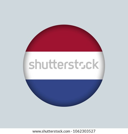 Vector illustration flag of Netherlands icon, Round national flag of Netherlands.