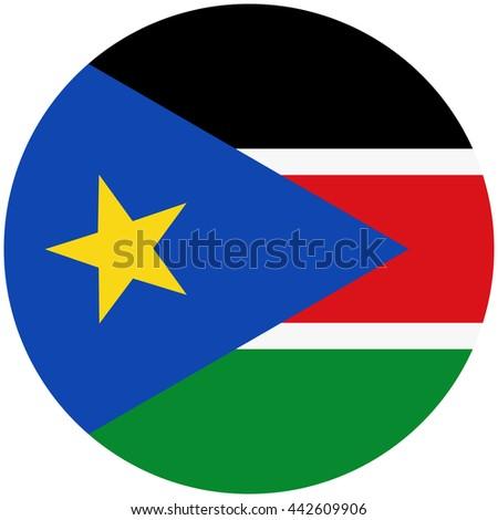 Vector illustration flag of South Sudan icon. Round national flag of South Sudan.
