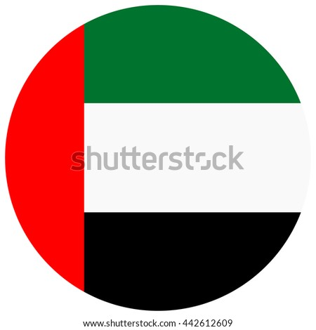 Vector illustration flag of United Arab Emirates icon. Round national flag of UAE.
