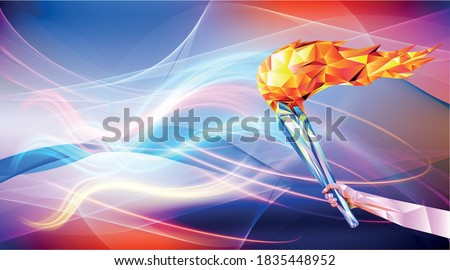 vector illustration flame in hand Olympic games, Tokyo 2020. 2021 Runner. vector illustration in triangles runner. Sport ruuner of triangle . Vector. winner. Runner n finish. Sport illustration