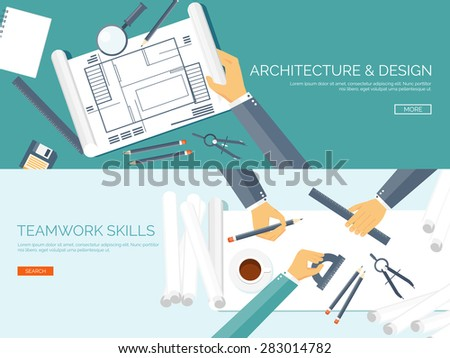 Vector illustration. Flat architectural project. Teamwork. Building and planning. Construction. Pencil, hand. Architecture and design.