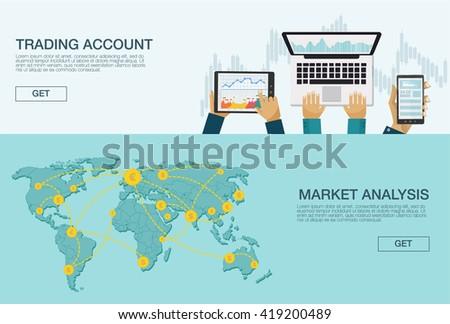 Vector illustration. Flat background. Market trade. Trading platform and account. Moneymaking,business. Market analysis. Investing.
