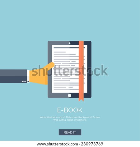 Vector illustration. Flat background with hand and e-book