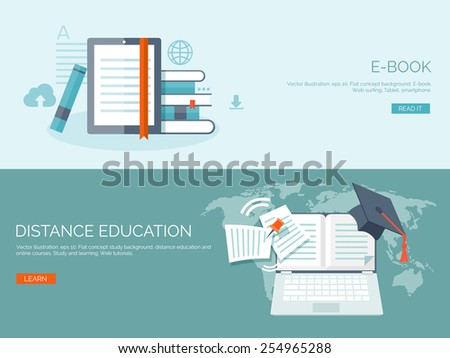Vector illustration. Flat backgrounds set. Distance education and learning. Online courses and web school. Knowledge and information. Study process. E-learning.