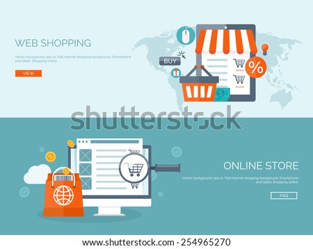 Vector illustration. Flat backgrounds set. Internet shopping. Web store. Global communication and trading. Web business. E-commerce and money making. Internet banking.