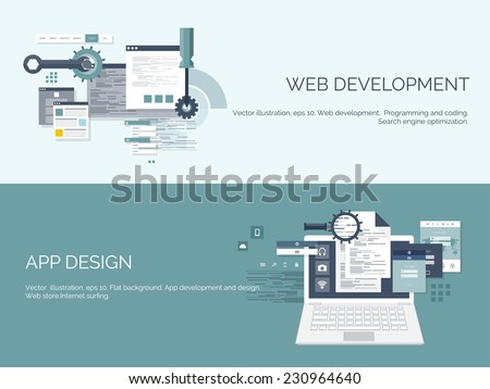 Vector illustration. Flat computing background. Programming and coding. Web development and search. Search engine optimization. Innovation and technologies. Mobile app.