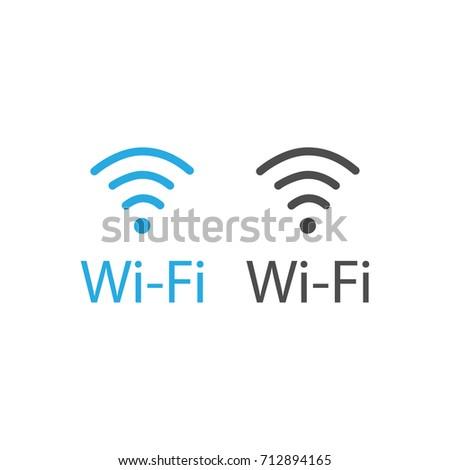 Vector illustration flat design blue wireless icon. Wi-Fi symbol, sign. WiFi