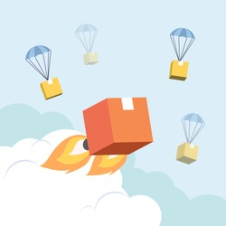 Vector illustration flat design style.  fast rocket parcel in the sky among dropshiping box.