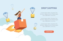Vector illustration flat design style. Woman on the fast rocket parcel in the sky among dropshiping box. Fast shipping, Better ,Best ,Winner, Success, Innovation dropship concept.