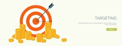 Vector illustration. Flat header.  Target and coins . Management and achievements. Smart solutions and business aims. Generating ideas. Business planning and strategy