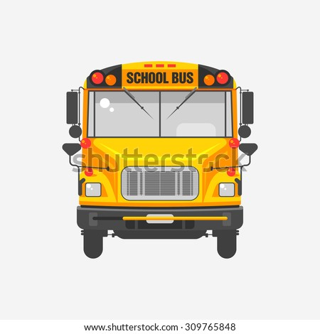 Vector illustration flat icon yellow school bus on grey background. Teachers' Day, transport for students, Knowledge Day.