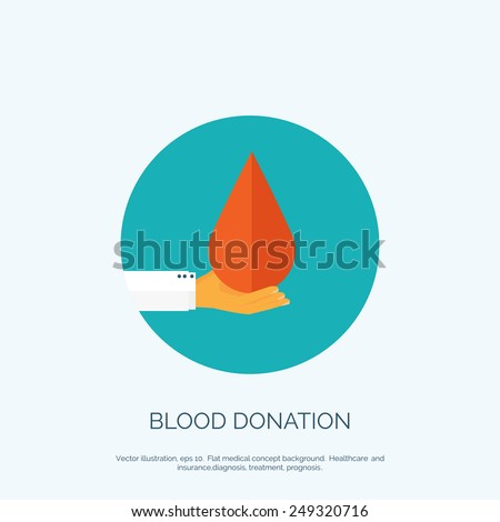 Vector illustration. Flat medical background. Health care and first aid, medical research and blood donation.