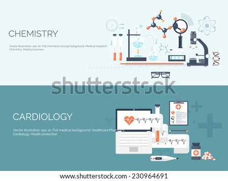 Vector illustration. Flat medical backgrounds set. Health care and first aid, medical research and cardiology. Medicine and study. Chemical engineering and pharmacy.