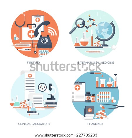 Vector illustration Flat medical backgrounds set Medicine Healthcare and medical research First aid help