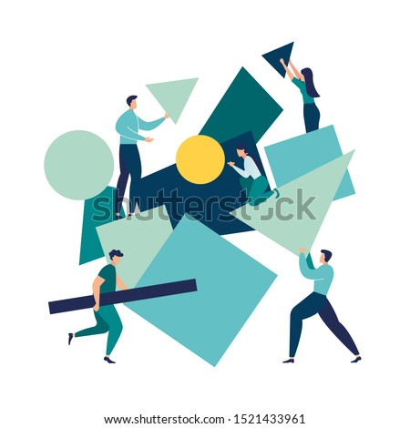 vector illustration flat people. A team of people assemble an abstract geometric puzzle. characters collect geometric shapes vector