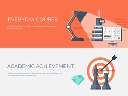 Vector illustration. Flat study backgrounds set. Education and online courses, web tutorials, e-learning. Study and creative process. Power of knowledge. Video tutorials.