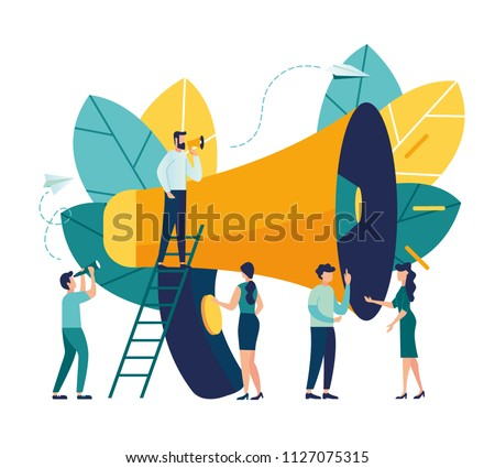 Vector illustration, flat style, business promotion, advertising, call through the horn, online alerting
