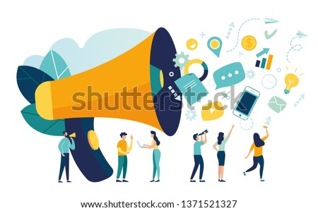Vector illustration, flat style, business promotion, advertising, call through the horn, online alerting - Vector