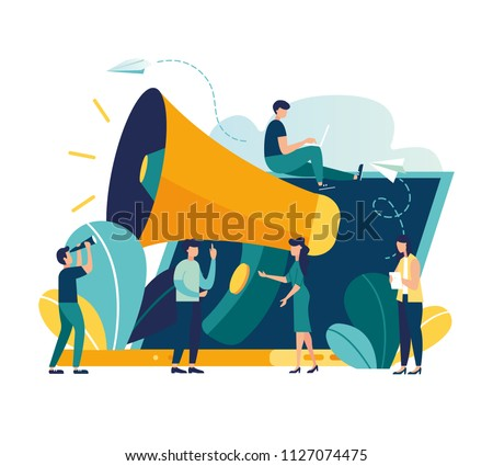 Vector illustration, flat style, business promotion on the Internet for a web page, advertising, calling through a shout, online alerting