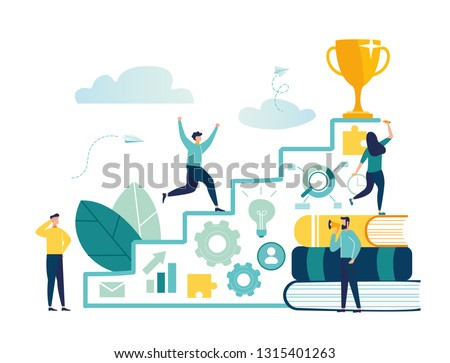 Vector illustration, flat style, businessman running up the stairs to the goal, career planning, career development concept, team work - Vector - Vector