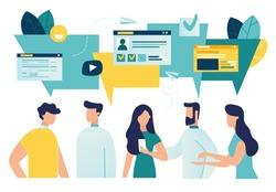 Vector illustration, flat style, businessmen discuss social network, news, social networks, chat, dialogue speech bubbles vector