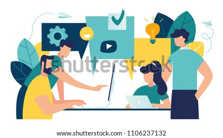 Vector illustration, flat style, businessmen discuss social network, news, social networks, chat, dialogue speech bubbles, new projects