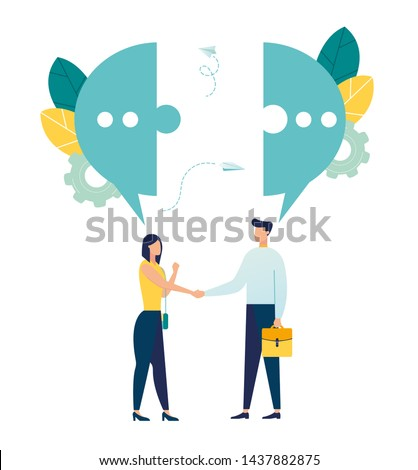 Vector illustration, flat style, businessmen discuss social networks, news, social networks, chat, dialogs, speech bubbles, thoughts puzzle