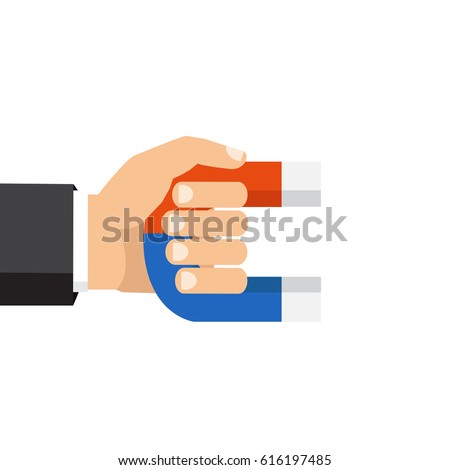 Vector illustration, flat style, isolated on background. Human hand holding a magnet.