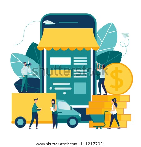Vector illustration, flat style, online shopping, receiving a check through the phone, business concept, online store, buying and selling,goods delivery